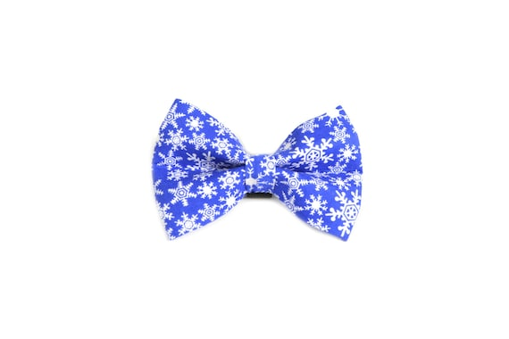 Blue Snowflake Dog Bow Tie