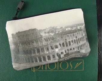 Double-Sided Coin Purse with Vintage Photos of the Coliseum