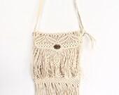 Vintage 70s Handmade Macrame Fringe Adjustable Shoulder Bag