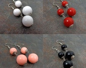 Statement Earrings, Chunky Gumball Earrings, Dangling Earrings, Stacked, Round, White, Red, Black, Mint, Peach, Round Bead Earrings
