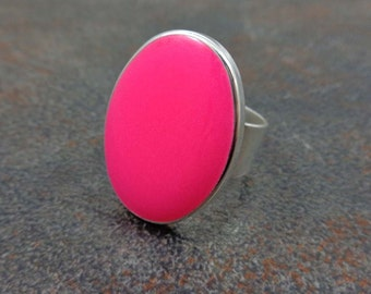Statement Ring, Pink, Silver, Oval Ring, Cocktail Ring, Rings for Women, Adjustable, Resin Ring, Statement Jewelry, Big Ring, Pink Ring