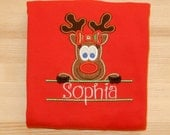 Girl Reindeer Nameplate Holiday Christmas Winter shirt or onesie personalized custom monogrammed embroidered