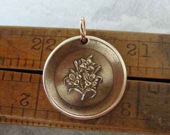 Lily Wax Seal Charm - antique wax seal jewelry with Lilies - Language of Flowers - Sweetness Purity