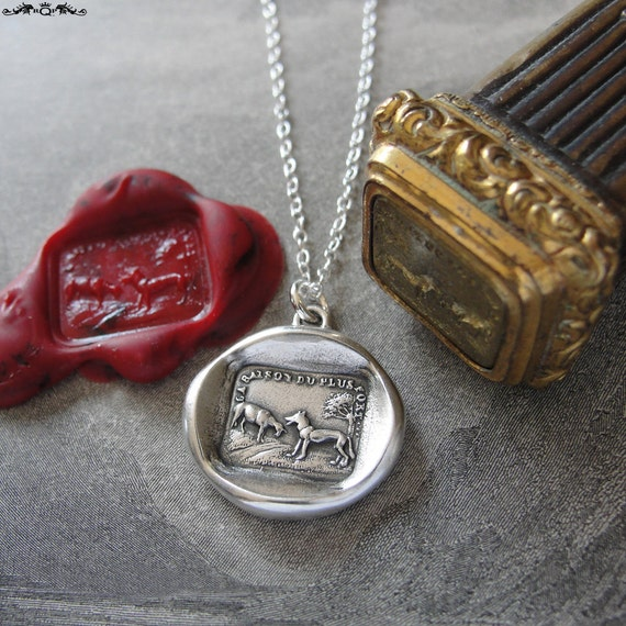 Wax Seal Necklace Aesop fable Wolf and Lamb - antique French wax seal charm necklace by RQP Studio