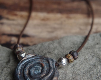 "Rustic brown boho leather and stone wear necklace - Urban tribal spiral necklace 17"" length"