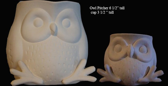 Darling Owl Pitcher with 2 owl Cups, Owl Mugs, ready to paint,Bird pitcher, bird mugs, Kitchen set,Ready to paint, Ceramic Bisque,u-paint