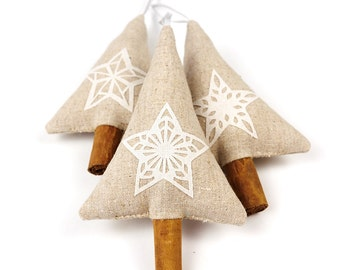 Rustic Modern Minimalist Christmas Decorations Scandinavian Style Christmas Decor Simple Linen Christmas Star Cinnamon Trees