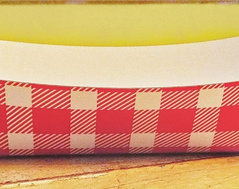 Red and White Buffalo Plaid Paper Food Tray - Set of 12
