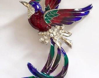 Vintage Rhinestone Enameled Metal Bird of Paradise Brooch