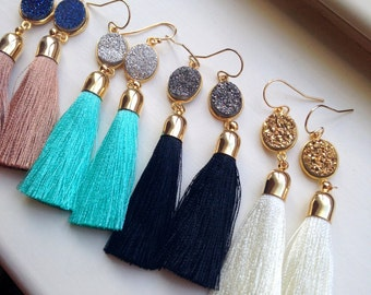 Gold Tassel Earrings Druzy Jewelry Drusy Earrings, Gold Druzy Earrings, Tassel Jewelry, Charming Gardens, Fringe Earrings, Trending Now