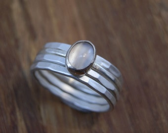 Moonstone Ring - Stacking Ring Set, Hand Made in Recyceld Argentium Sterling Silver, Matte Finish