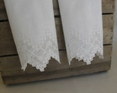White Guest Towels, Set of TWO, Embroidered Cotton Towels, White on White, Cut-Work Trim, Guest Bath Decor, Cottage Chic MyVintageTable