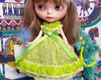 RESERVED Lime Green Embroidered Blythe Dress, Crinoline and Panties Set