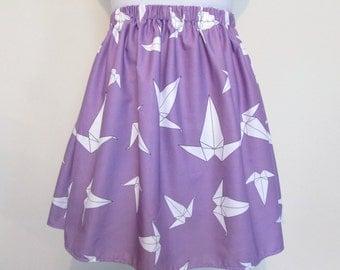 Lilac Origami Crane Skirt