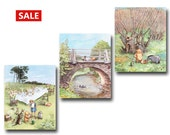 """Classic Winnie the Pooh Nursery Decor (Winnie-the-Pooh Baby Shower Gift) --- """"A Day with Winnie and Friends"""" (Set of 3) SALE"""