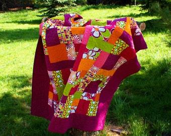 Handmade Modern quilt , Multi Colored Quilt, Patchwork Quilt, Handmade Quilt, Lap Quilt