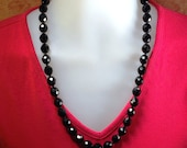 Vintage 1950's Black Crystal Necklace with Glass Spacer Beads