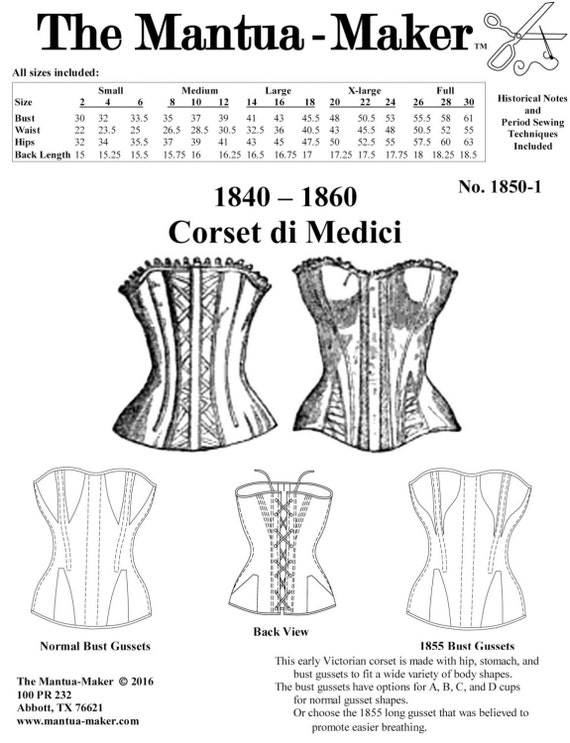 Victorian Corset Pattern: Multi Sized Sewing Pattern for 1840 - 1860, New from MantuaMakerPatterns. 1850-1