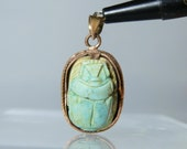 Antique Pendant Jewelry 10k Gold Handmade Pendant Carved Turquoise Egyptian Scarab With Attached Bale A Great Gift for Her DanPickedMinerals