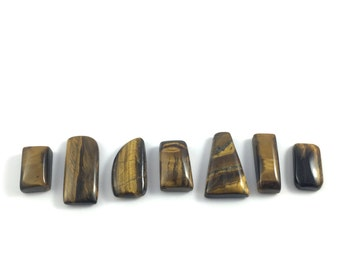 Tiger Eye Stone Cabochons // Loose Stones lot of 7 // Wire Wrapping // Jewelry Supplies