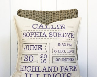 """18"""" Birth Announcement Keepsake Pillow - Baby Statistics Pillow - New Baby Gift - Baby Info Pillow - Cotton Canvas - Toggle & Loop Closure"""