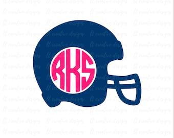 Helmet Monogram SVG, Football Helmet SVG, Football Monogram SVG, Svg Files, Football Svg, Cricut Cut Files, Silhouette Cut Files