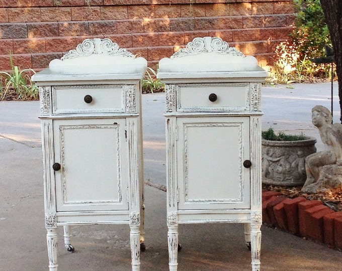 Painted Antique Nightstands - You Order. We Find, Restore, Adorn and Paint. Repurposed. All Wood