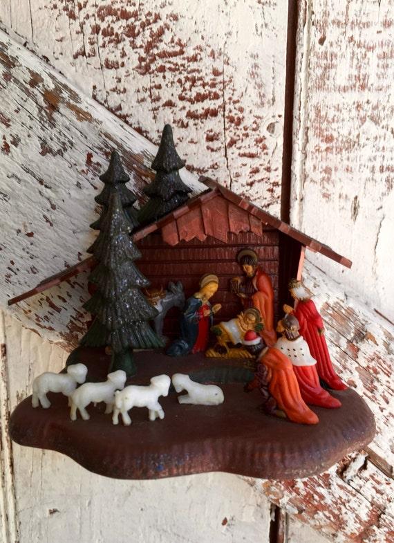 Miniature Plastic Nativity Scene Classic Christmas Display A