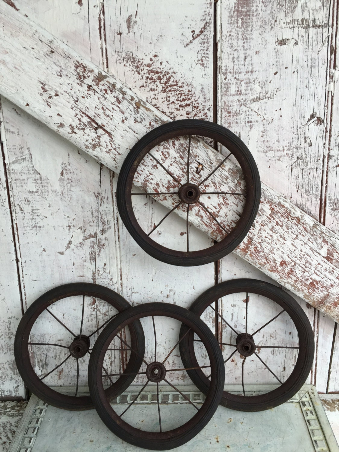 Antique Wheels Metal Rubber Small Spoked Baby Carriage Wheels