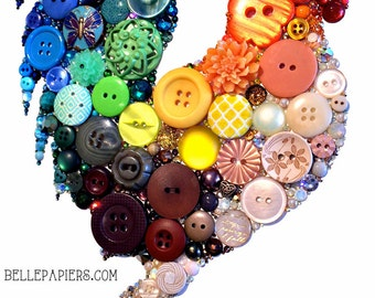 Bantam Rooster Kitchen Decor Button Art Rooster Button Canvas Button Picture Kitchen Decoration Kitchen Roosters Kitchen Chicken Art Kitchen