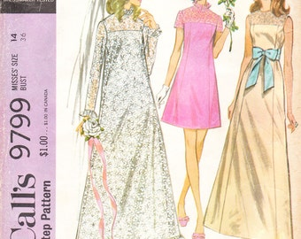 1960s Helen Lee Bride Dress or Wedding Dress and Bridesmaid Dress for Misses' - Vintage McCall's Sewing Pattern 9799 - 36 Bust
