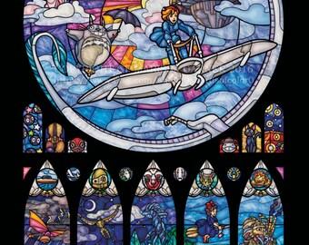 Ghibli Celebration Stained Glass Illustration  - Half Size