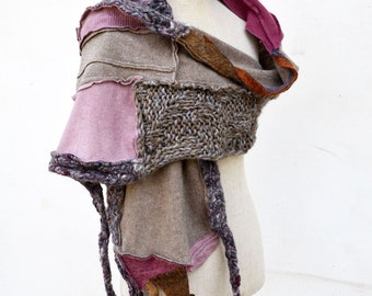 Beige lavender scarf patchwork Hand knited shawl wrap felted wool fabric Cozy warm unique OOAK geometrical fashion, wearable art to wear