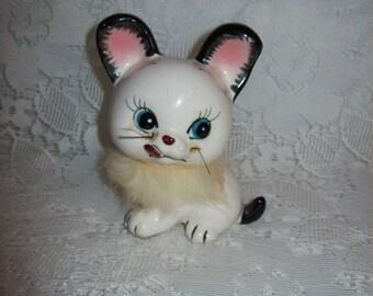 Vintage Kitsch Black & White Fur Trimmed Kitty Cat Salt or Pepper Shaker Mid Century Kawaii Only 6 USD