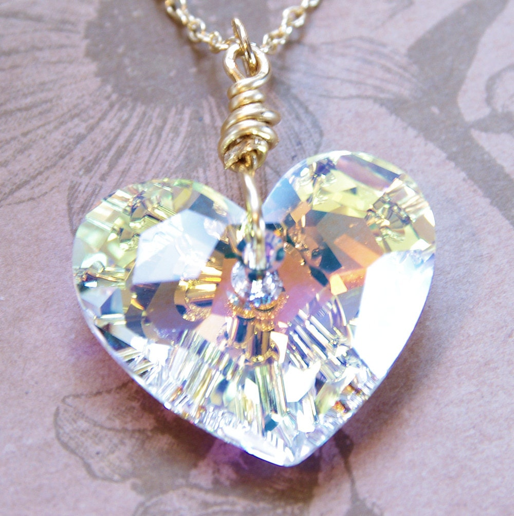 Swarovski Crystal Heart Pendant Necklace Gold Chain Clear Wire