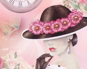 Fashion Hat Diva  Fabric Block - Art Print