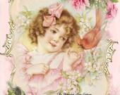 Sweet Victorian Girl feeding a Bird Fabric Block - Art Print