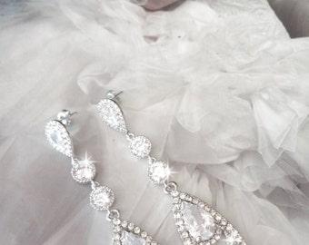 Brides earrings ~ Long ~ Cubic Zirconia Earrings ~ Elegant ~ Sterling silver posts - Bridal Jewelry ~ Wedding earrings ~ Prom earrings,BECKA