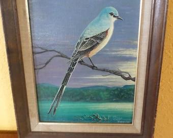 Original Oil/Acyrlic Painting On Canvas//TONY VISCOSI/Western Blue JAY/Framed/Vintage
