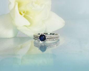 Sapphire Wedding Set, Blue Sapphire Ring Set, Sapphire Silver Wedding Set, Blue Sapphire Ring, September Birthstone Ring Set