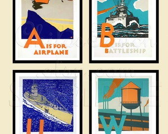 Letter Prints - B is for Battleship, I is for irrigation - Great & Unique - Woodblock Print Reproduction