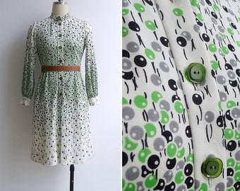 Vintage 80's 'Birthday Balloons' Polyester Knit Shirt Dress XS or S