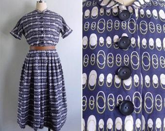 13% Off Code  SPOOKY13 - Vintage 50's L'Aiglon Egg Print Navy Blue Cotton Dress M or L