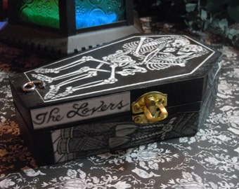 Tarot Coffin, The Lovers, Decorated Keepsake Box, Tarot Card Design, Goth Decor