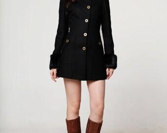 Fitted Black Coat - Coat Nj