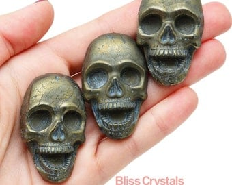 "1 Vintage Look PYRITE SKULL Cabochon 1.9"" aka Fools Gold Healing Crystal and Stone Jewelry & Crafts Pendant #PS01"