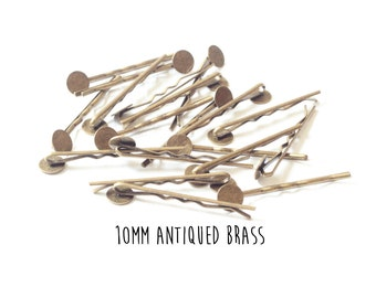 200 pieces - Antiqued Brass - Bobby Pins - 10mm - 2 inch length - Round Pad - Antique Bronze