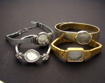 4 Wrist Watch Bands or Bracelets Without Movements in Silver or Gold Tone Metal, Wristwatch Parts Lot for Jewelry Art & Craft Supplies 03835