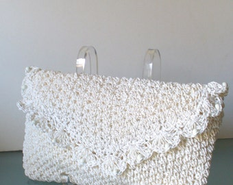 Vintage  Crocheted Straw Clutch Bag