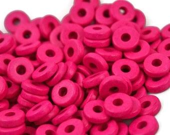 50 Mykonos 8mm Round Washer - Hot Pink - Greek Ceramic Beads - Spacer Disc